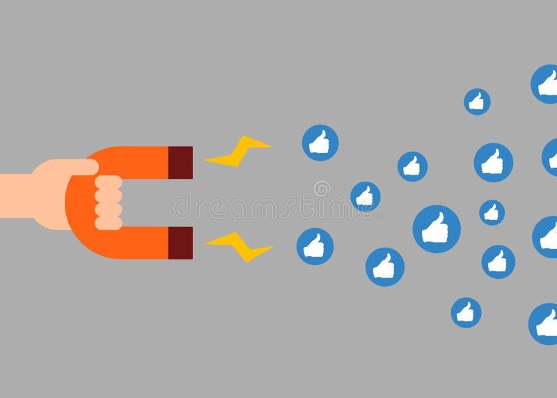 sociala begreppsmarknadsföringsmedel Magnet som tilldrar något liknande royaltyfri illustrationer