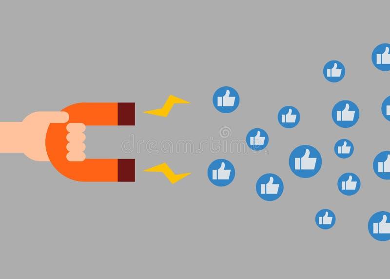 sociala begreppsmarknadsföringsmedel Magnet som tilldrar något liknande stock illustrationer