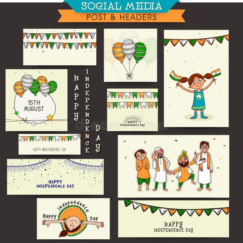 Sociala massmediaannonser eller titelrader för självständighetsdagenberöm stock illustrationer