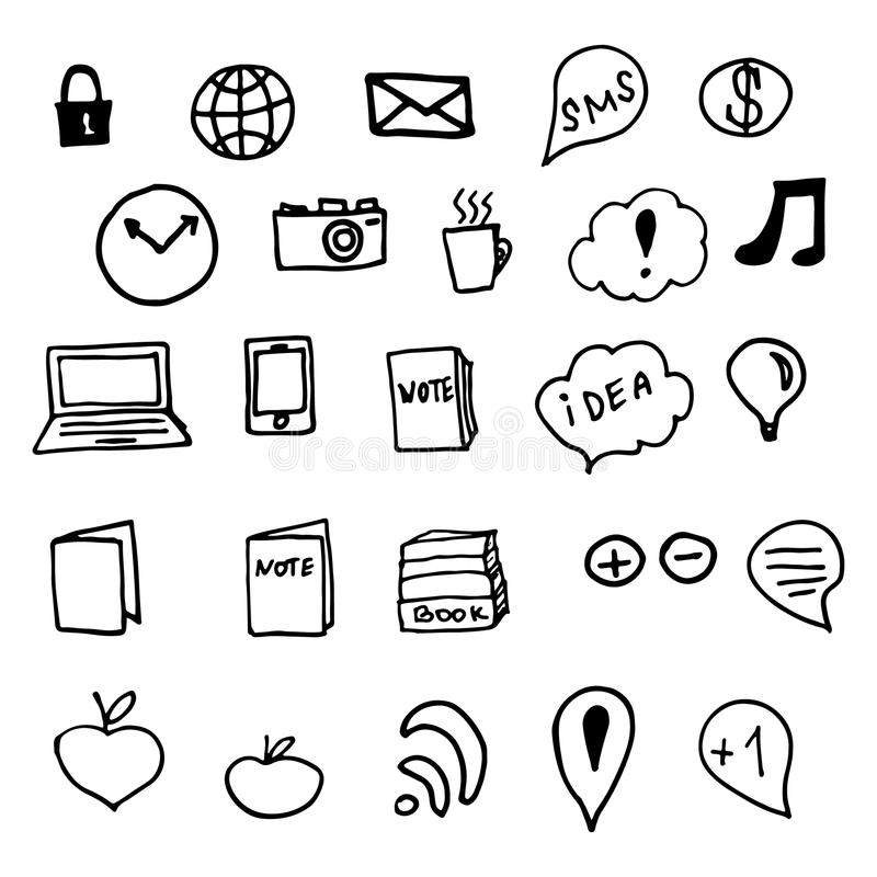 Sociala massmediaklotterbeståndsdelar stock illustrationer