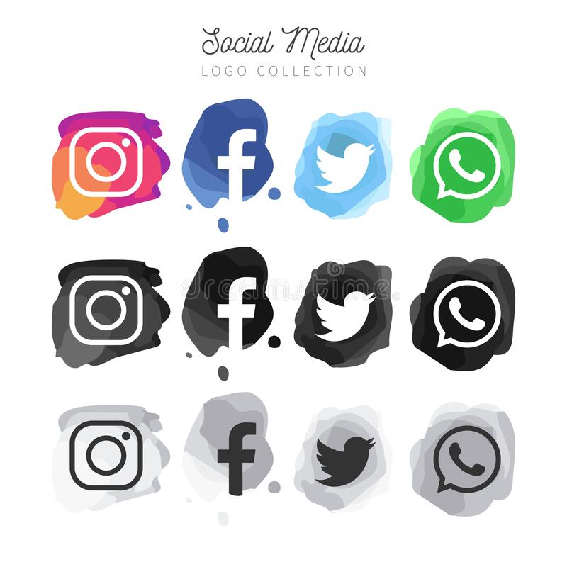 Sociala massmediaknappar stock illustrationer
