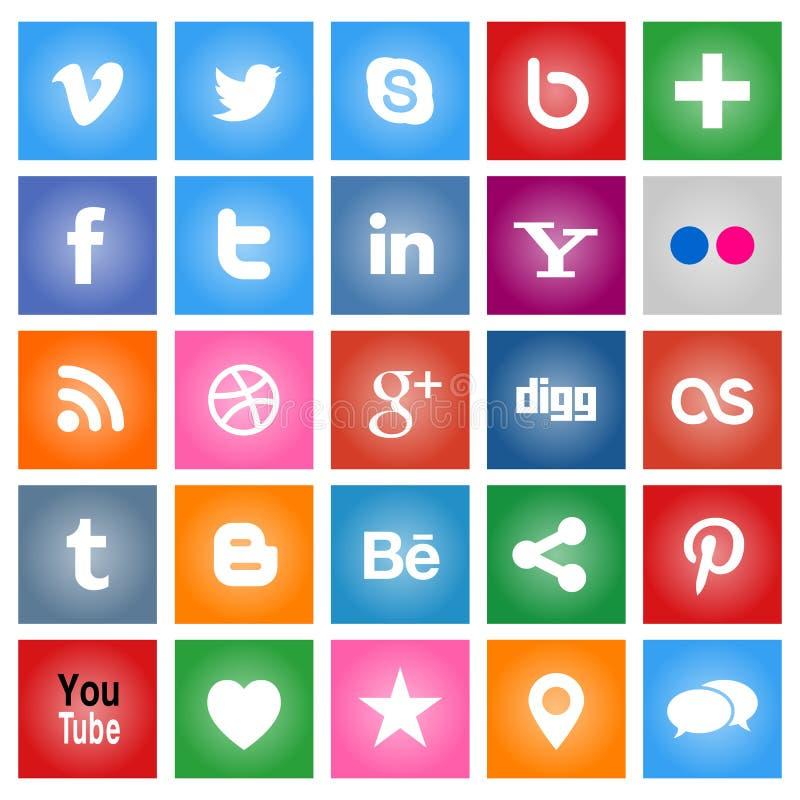Sociala massmediaknappar royaltyfri illustrationer