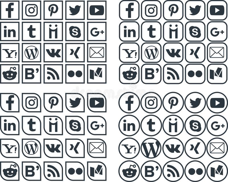Sociala massmediasymboler 2 royaltyfri illustrationer