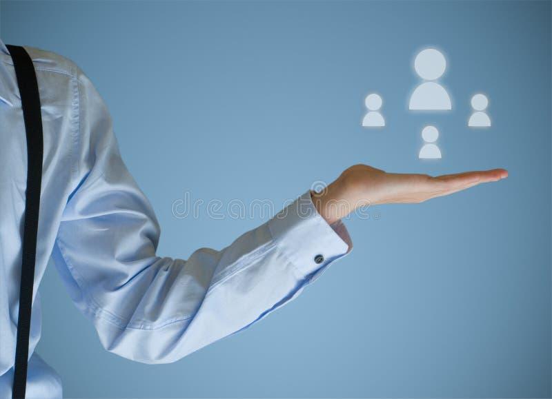 Sociala massmediasymboler för affärsman i händer royaltyfri foto
