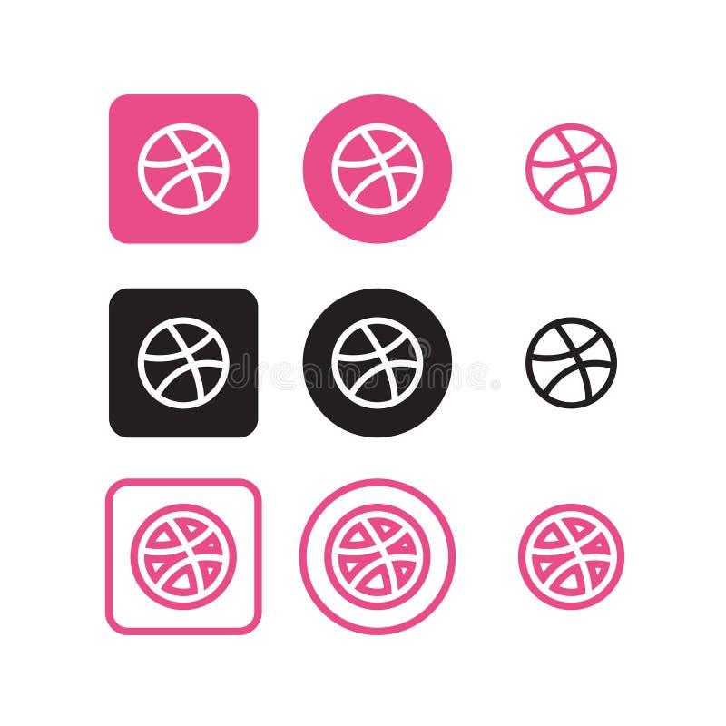 Sociala massmediasymboler för dribbling vektor illustrationer