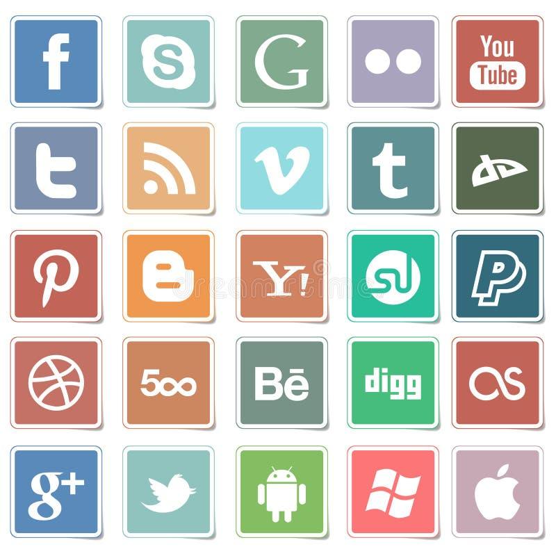 Sociala massmediasymboler för plana klistermärkear vektor illustrationer