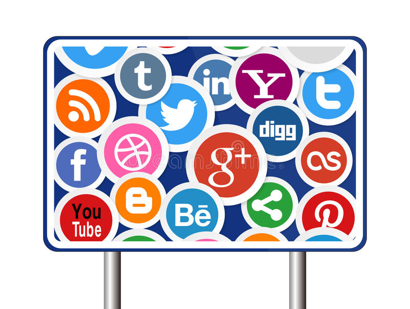 Sociala massmediasymboler på vägmärke royaltyfri illustrationer