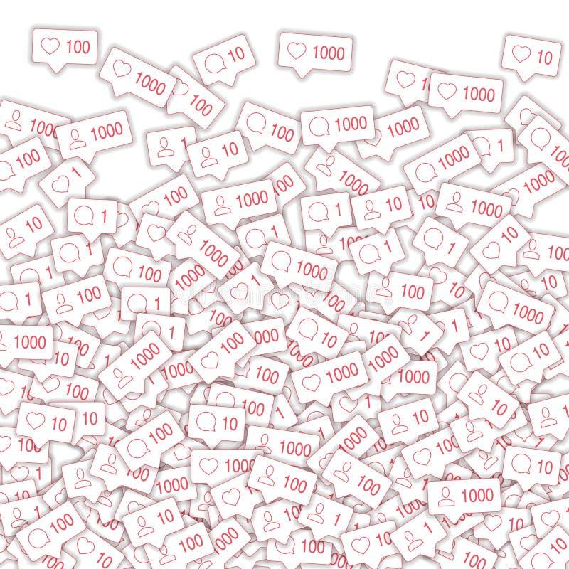 Sociala massmediasymboler Socialt massmediaöverbelastningsbegrepp Fallande meddelande för räknarekommentarvän royaltyfri illustrationer
