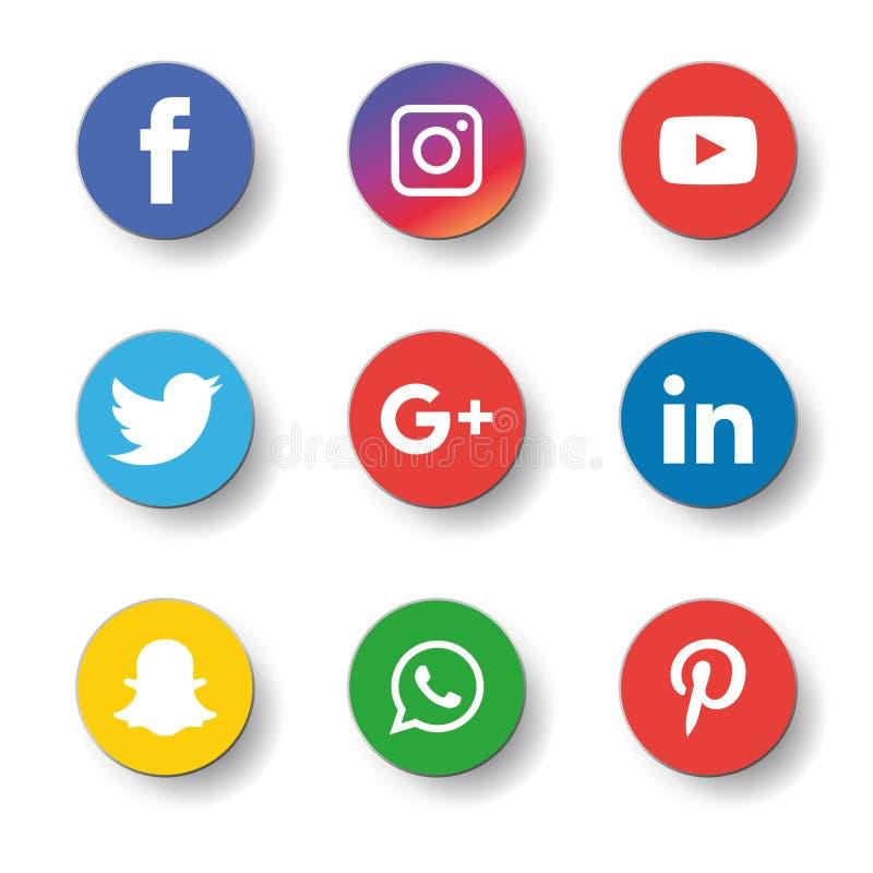 Sociala massmediasymboler ställde in Logo Vector Illustrator vektor illustrationer
