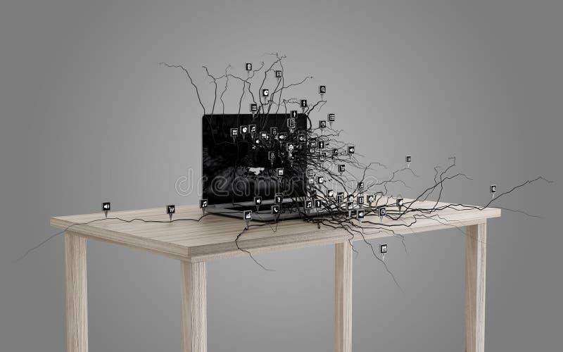 Sociala massmediasymboler ställde in på rota som växer ut ur bärbara datorn stock illustrationer