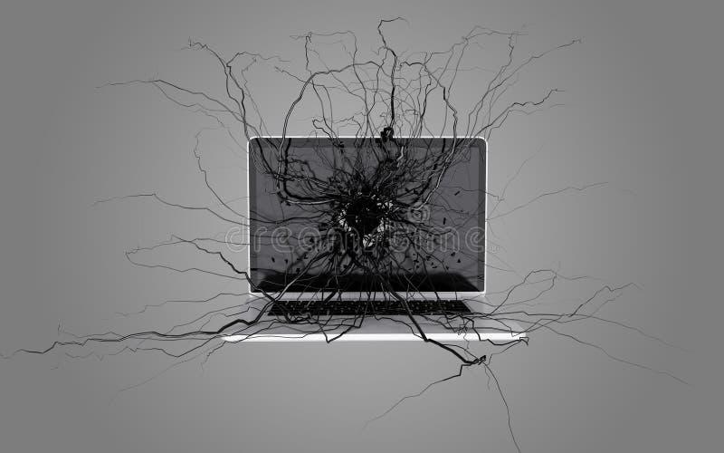 Sociala massmediasymboler ställde in på rota som växer ut ur bärbara datorn royaltyfri illustrationer