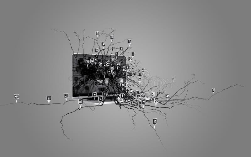Sociala massmediasymboler ställde in på rota som växer ut ur bärbara datorn vektor illustrationer