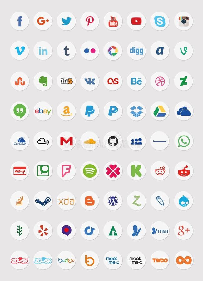 Sociala massmediasymboler (uppsättning 2) royaltyfri illustrationer