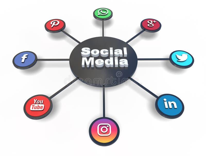 2 sociala medel stock illustrationer