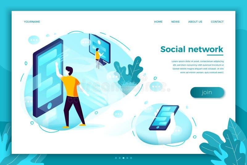 Sociala nätverksanslutningar för vektor, prata för folk royaltyfri illustrationer