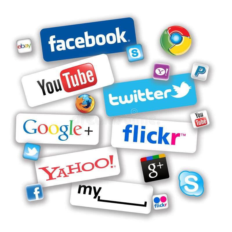 Sociala nätverkssymboler stock illustrationer