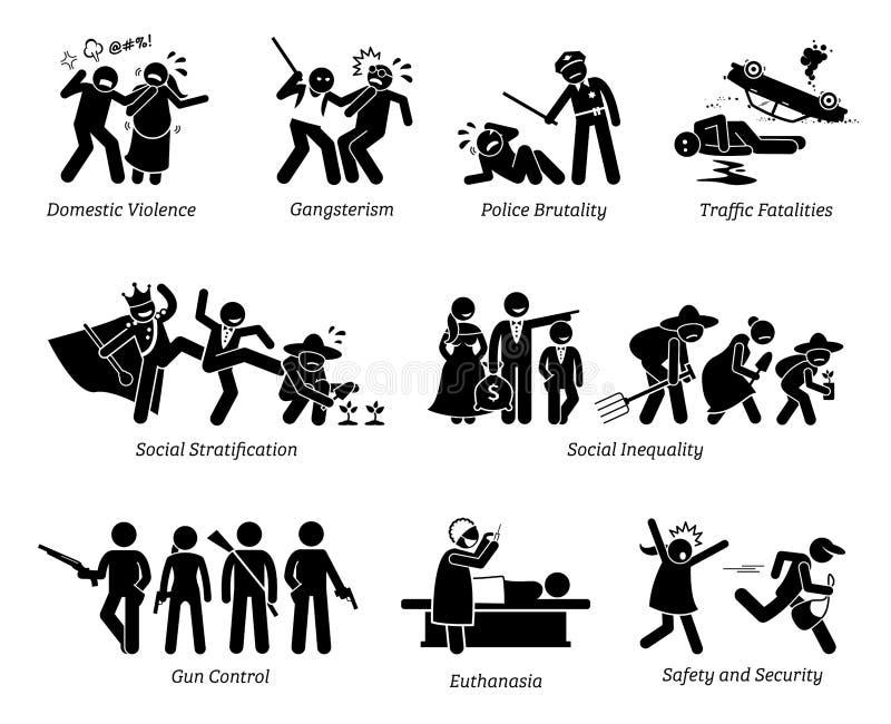 Sociala problem och pinnediagram Pictogramsymboler för kritiska frågor royaltyfri illustrationer
