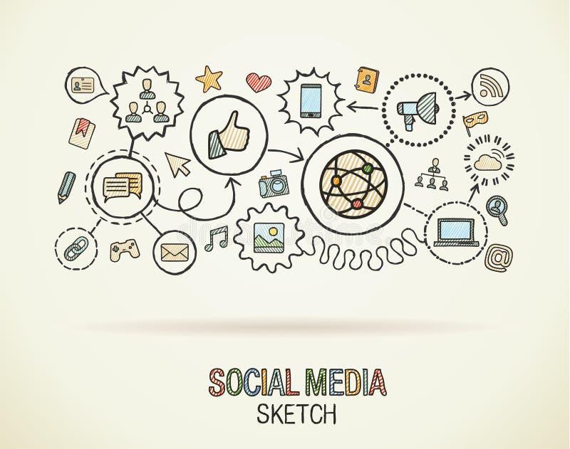 Sociala symboler för begrepp för massmediahandattraktion stock illustrationer