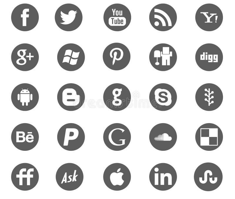 Sociala symboler för massmedianätverksgrå färger royaltyfri illustrationer