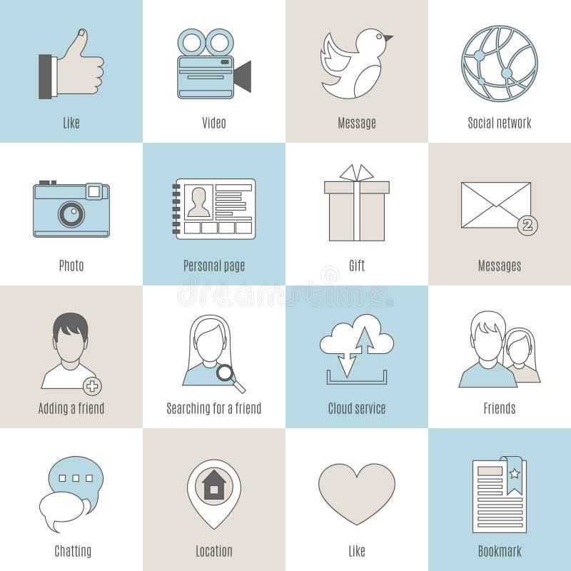 Sociala symboler sänker linjen uppsättning stock illustrationer