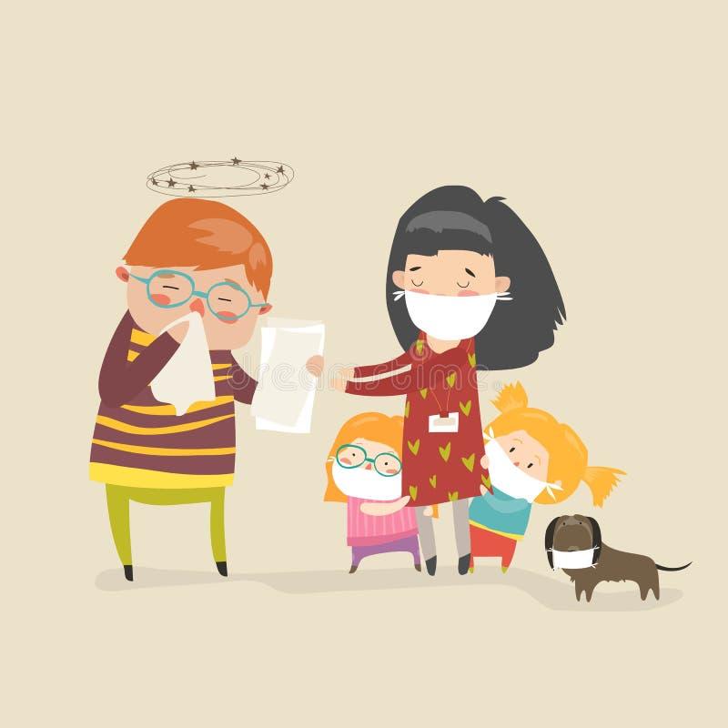 Socialarbetare med ungar stock illustrationer