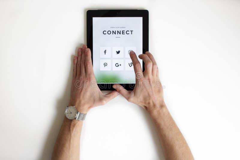 Sociale app baaner voor mobiele app stock fotografie