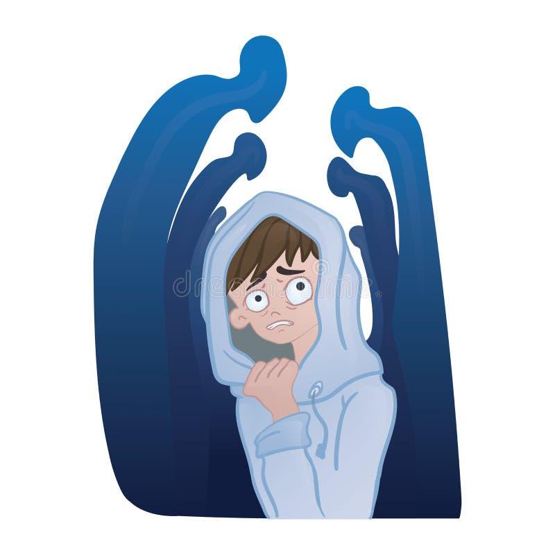 Sociale bezorgdheidswanorde, sociaal fobieconcept Gedeprimeerde jonge mens in de menigte van silhouetten Vector illustratie vector illustratie
