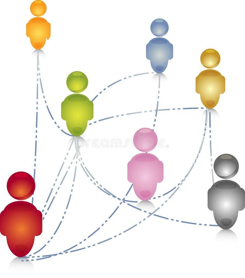 Sociale de aansluting van netwerkmensen illustratie royalty-vrije illustratie