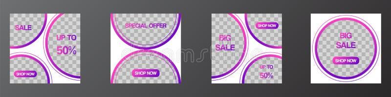 Sociale de media van het Editable postmalplaatje banners, de moderne malplaatjes van het bevorderingsweb voor digitale marketing vector illustratie