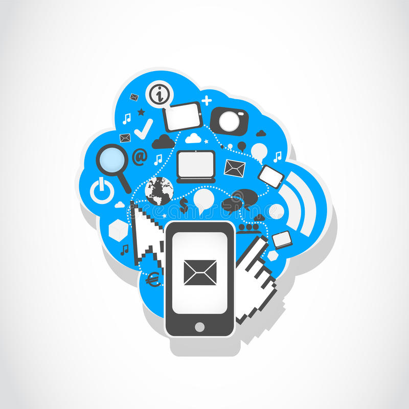 Sociale de media van Smartphone pictogrammen royalty-vrije illustratie