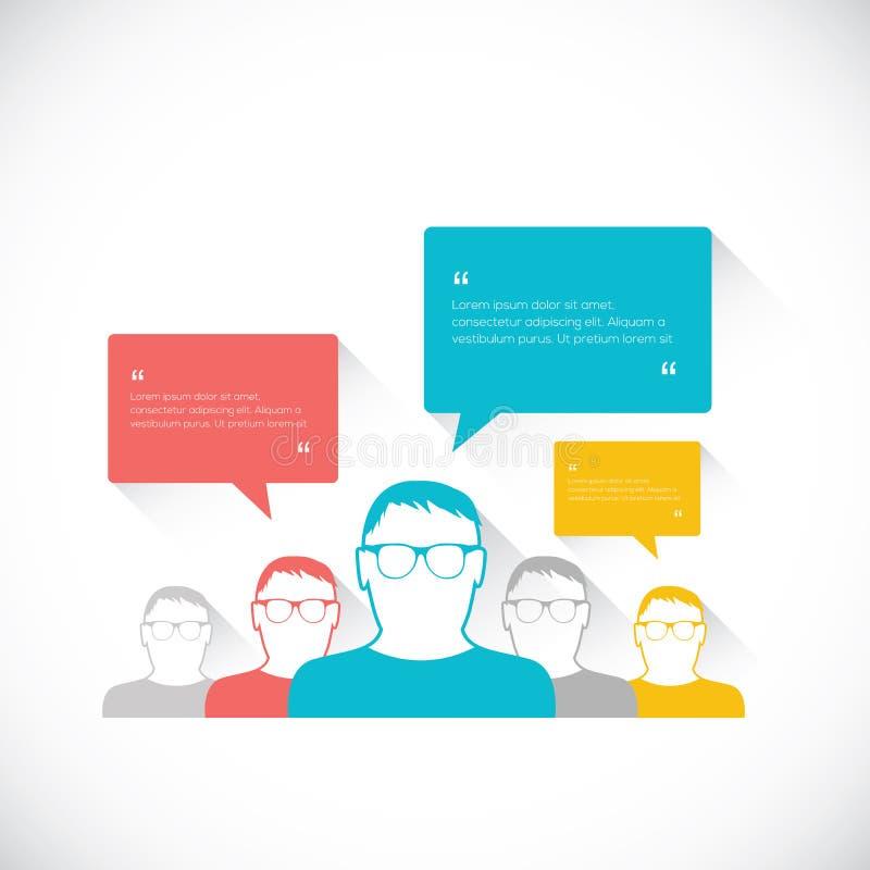 Sociale de toespraakbellen van de bedrijfsmedia netwerk vectorillustratie royalty-vrije illustratie