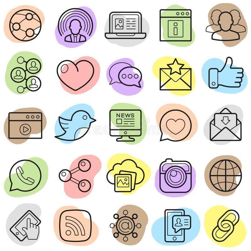 Sociale geplaatste netwerk in pictogrammen Vector illustratie stock illustratie