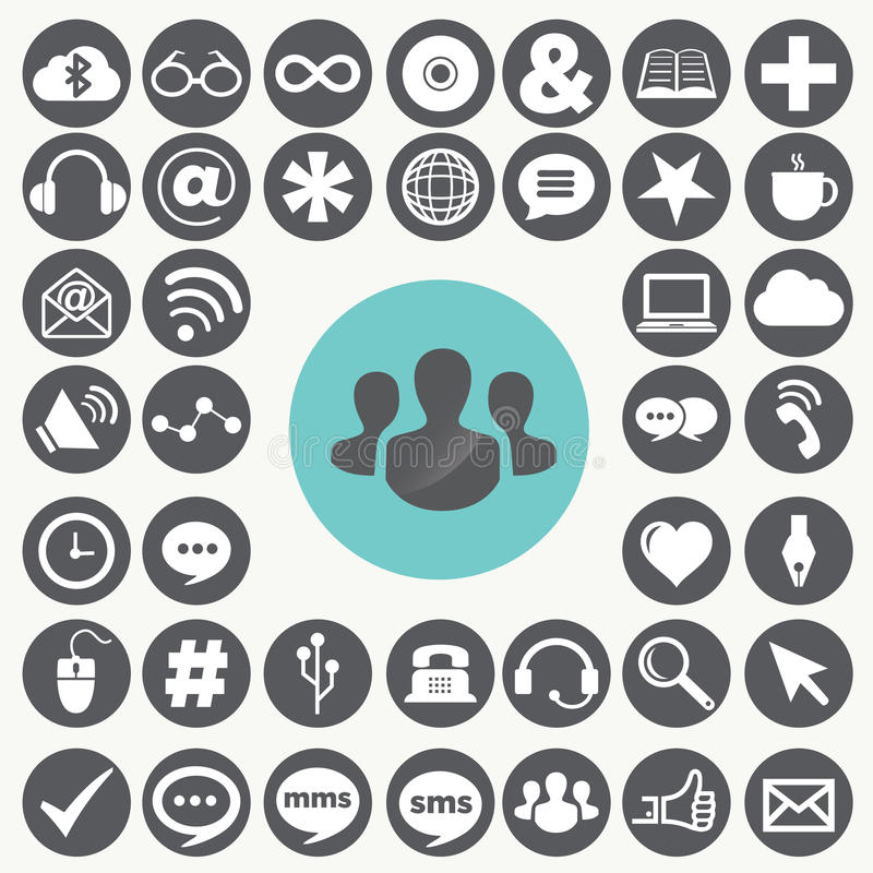 Sociale geplaatste netwerkpictogrammen vector illustratie