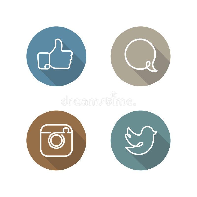 Sociale geplaatste netwerkpictogrammen en stickers royalty-vrije illustratie