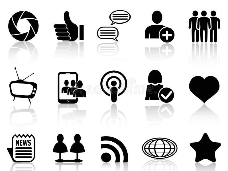 Sociale geplaatste Voorzien van een netwerk en communicatie pictogrammen vector illustratie