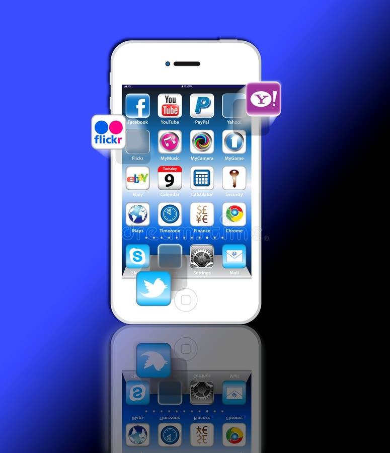 Sociale Madia apps op een iPhone 4 van de Appel vector illustratie