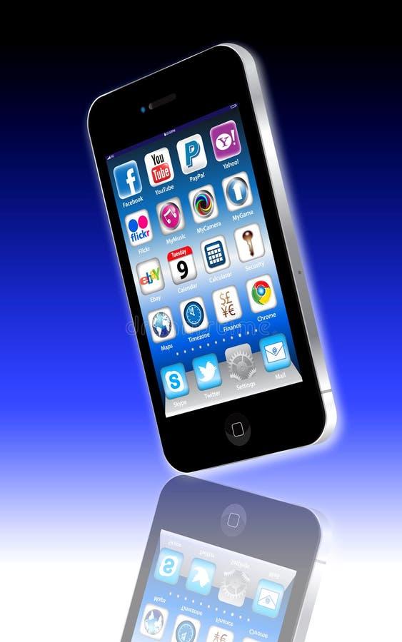 Sociale Madia apps op een iPhone 4 van de Appel stock illustratie