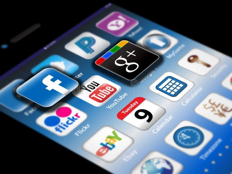 Sociale Madia apps op een iPhone van de Appel 4S royalty-vrije illustratie