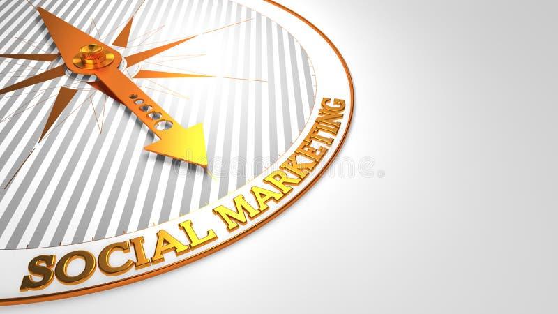 Sociale Marketing op wit-Gouden Kompas stock illustratie