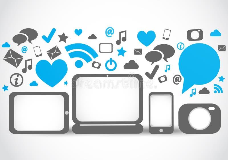 Sociale media aansluting hulpmiddelen royalty-vrije illustratie