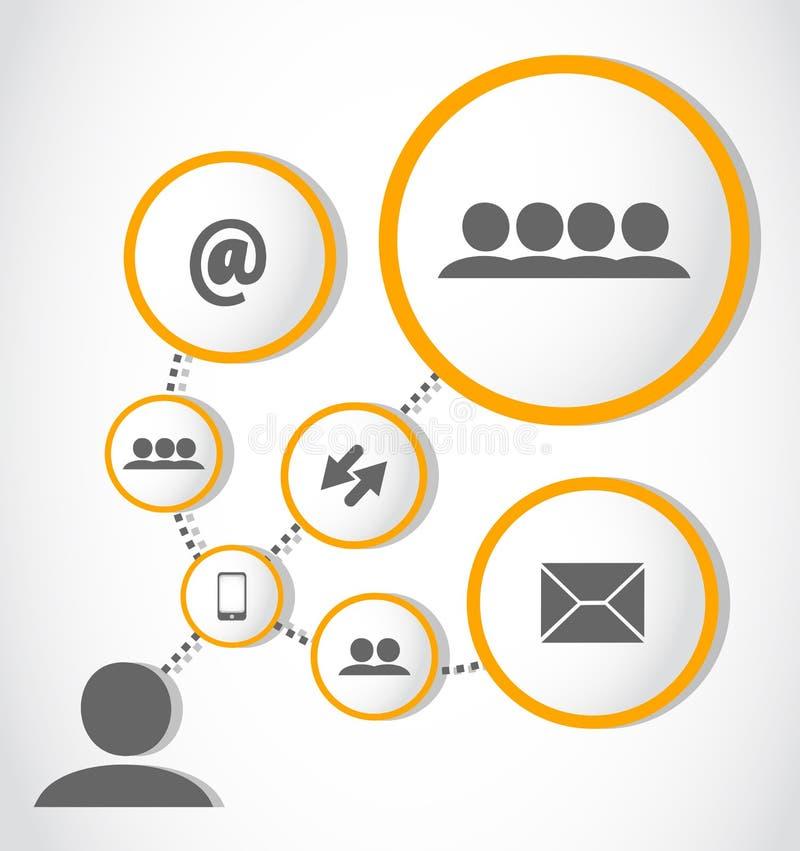 Sociale media aanslutingen procesgroep royalty-vrije illustratie