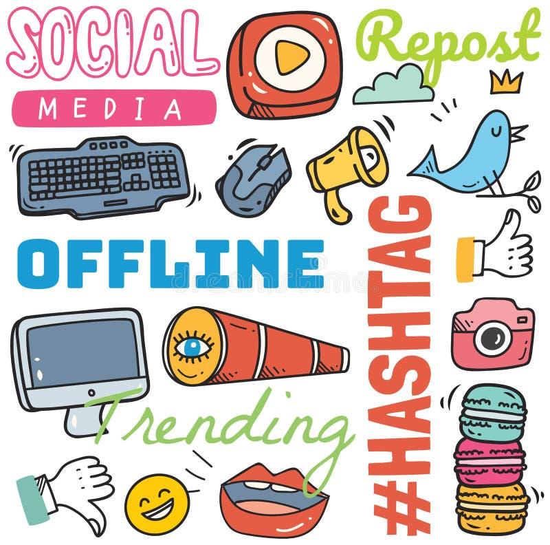 Sociale media achtergrond in de vectorillustratie van de krabbelstijl royalty-vrije illustratie