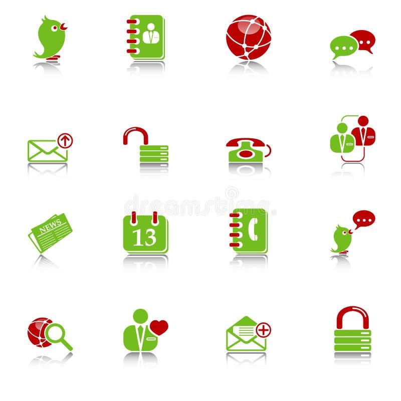 Sociale media & blog pictogrammen, groen-rode reeks stock illustratie