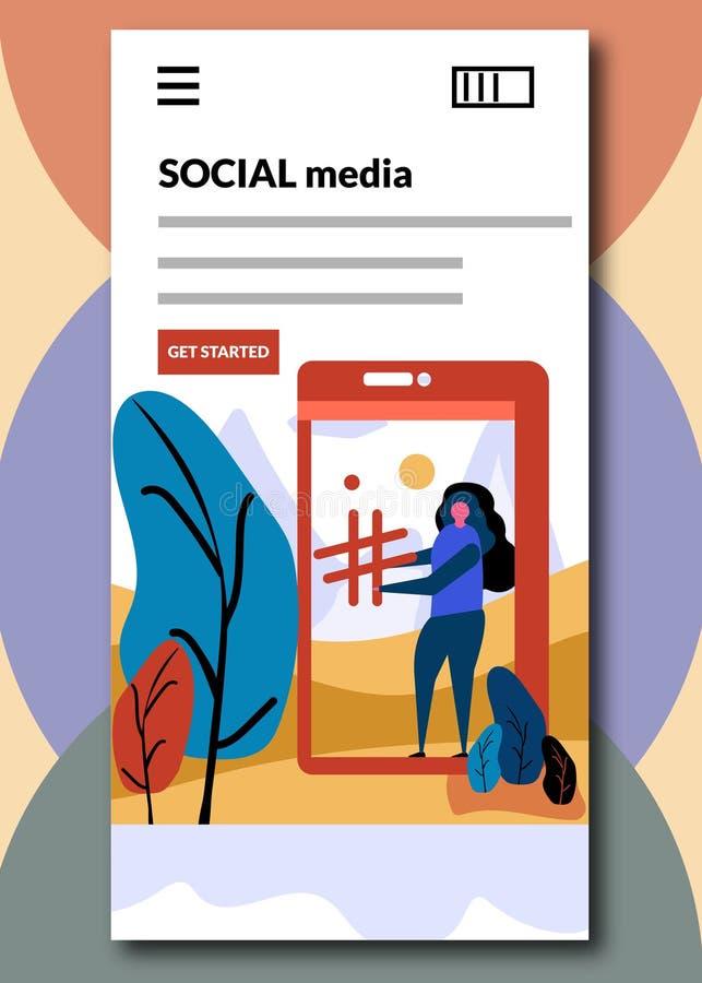 Sociale media bij het inschepen van de schermen - Vlakke stijl vectorillustratie stock illustratie