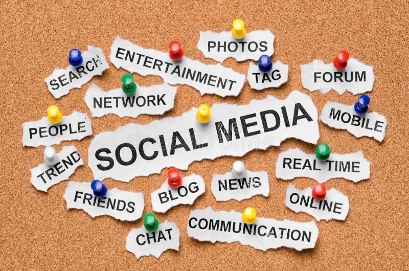 Sociale media conceptenwoorden op corkboard royalty-vrije stock foto's