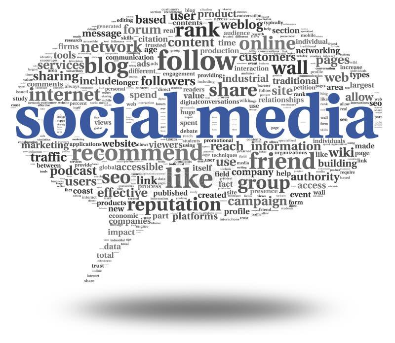 Sociale media conept in de wolk van de woordmarkering royalty-vrije illustratie