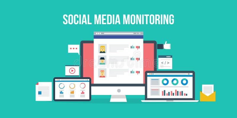 Sociale media controle Vlakke ontwerpillustratie vector illustratie