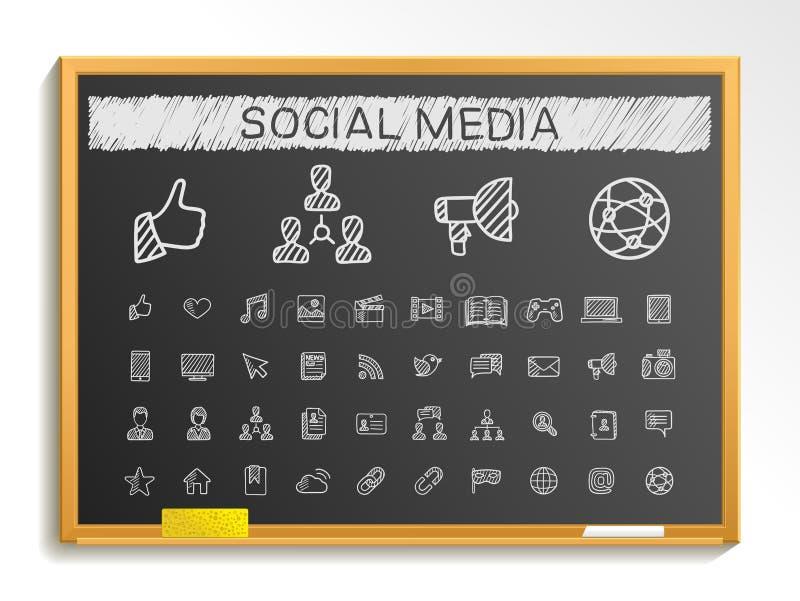 Sociale media de lijnpictogrammen van de handtekening het tekenillustratie van de krijtschets op bord vector illustratie