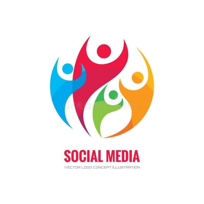 Sociale media - de vectorillustratie van het embleemconcept Menselijk karakterembleem Mensenembleem Abstract mensenembleem Vector royalty-vrije illustratie