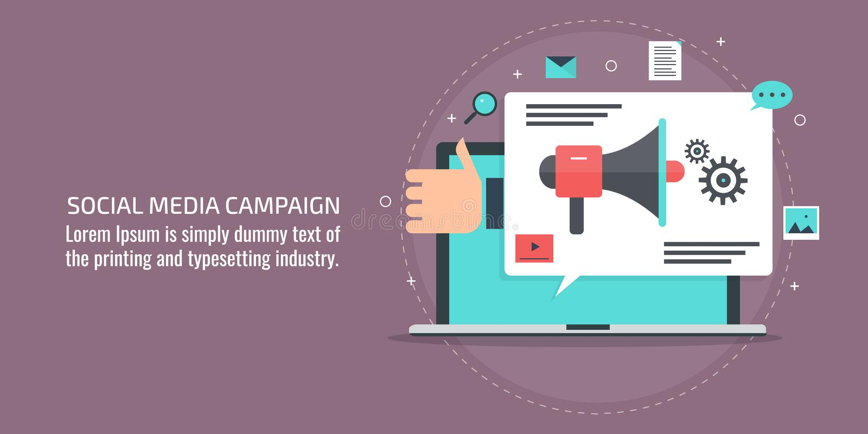 Sociale media die campagne, merkbevordering die, digitale media, Internet op de markt brengen, inhoud marketing concept advertere vector illustratie